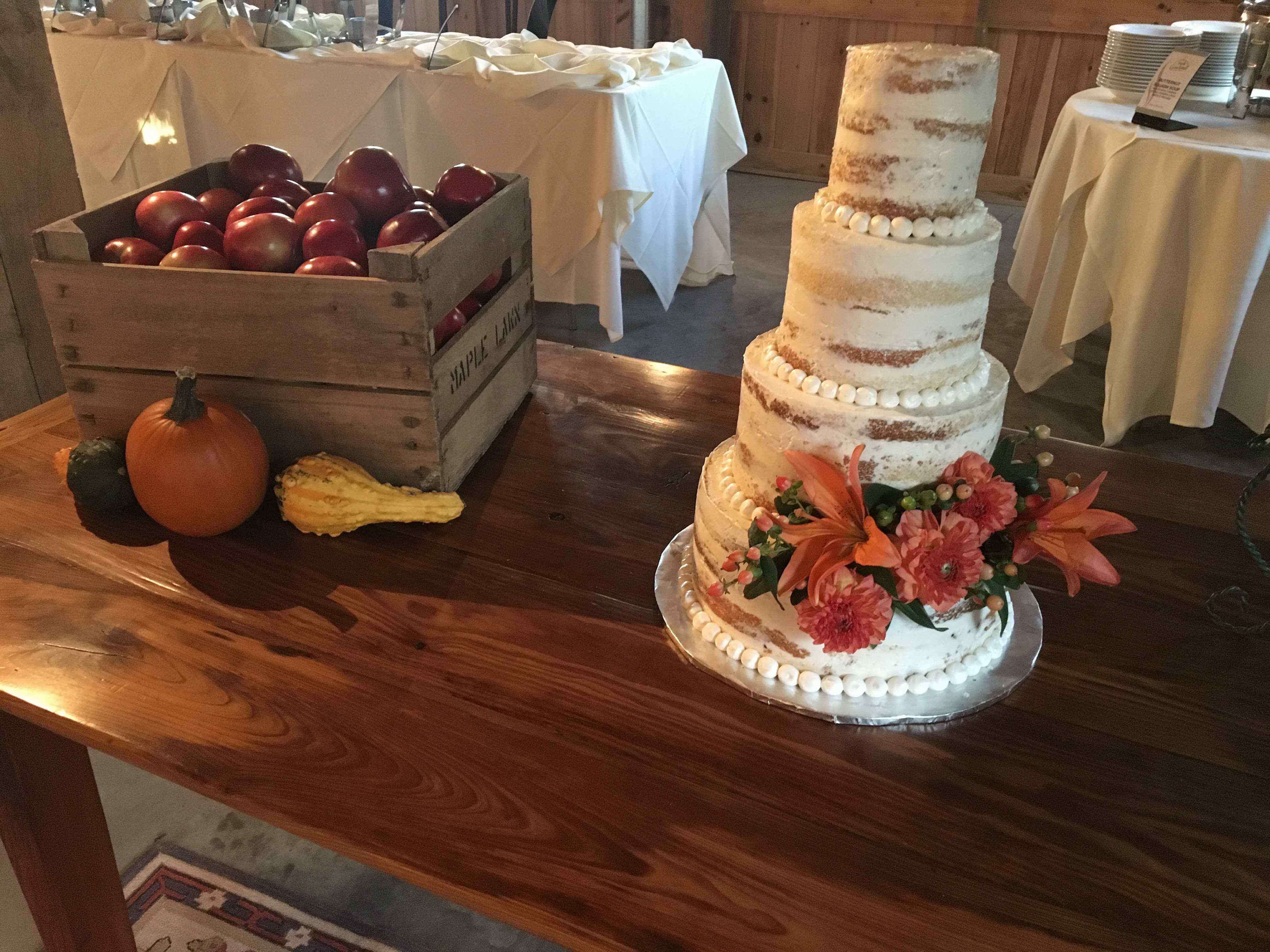 Semi-Naked Cake at a Barn Wedding