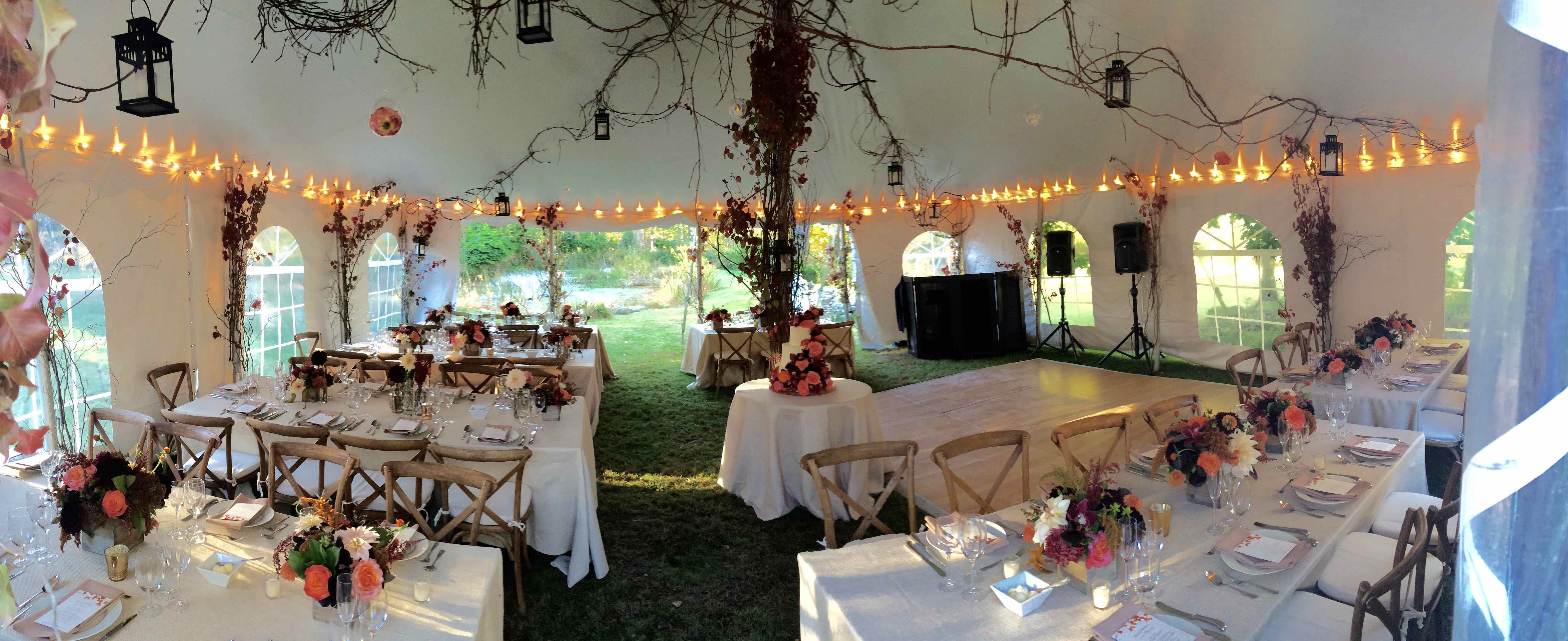 Fall Wedding Tent. Bring Outside into the tent